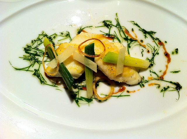 Dover sole fillet, baby leeks with ginger
